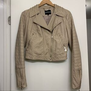 Express Beige Faux Leather Jacket studs small